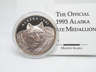 1993 Official Alaska Commemorative Medallion Wolf 1 troy ounce .999 silver Proof