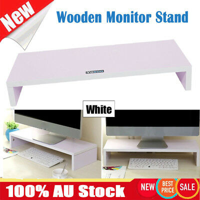 White Wooden Monitor Stand LCD Computer Monitor Riser Desktop Display Bracket