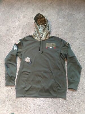New Cleveland Browns Nike NFL Salute to Service OnField Therma Hoodie! S L  8f97e91f7