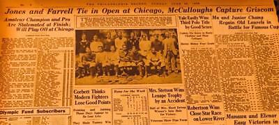 Jun 24,1928 Newspaper Page #jv5968- Jones And Farrell Tie In Open At Chicago