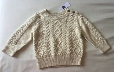 Baby Boy 6-12 Month Baby Gap Off White Cable Knit Argyle Sweater