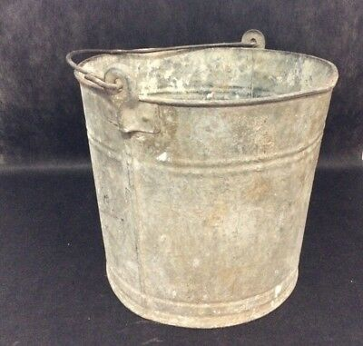Vintage Galvanized Bucket Metal Milk Pail Planter Farm Decor Original