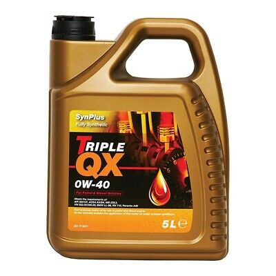 Car Motor Engine Oil Triple QX SynPlus Fully Synthetic 0W40 Multigrade 5L 5Litre