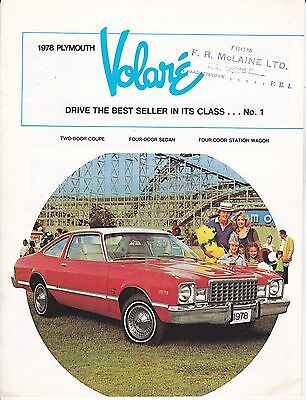 1978 Plymouth Volare Full Line, Slick 8-Page Canadian Issue Sales Brochure