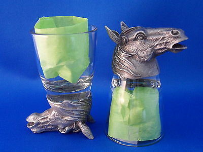 Horse Mustang Bronco Animal Head - 2 ShotGlasses Equestrian Glass/Pewter Stirrup