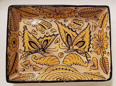 Vintage Hand Painted Mexican Folk Art Pottery Tray