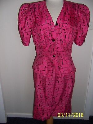 Vintage 80s 2 Piece Skirt and Top Pink and  Black