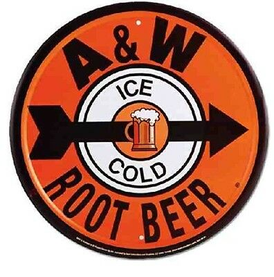 "A & W Root Beer 12"" Round Tin Metal A&w Soda Sign Soda Pop Stand Vintage Style"