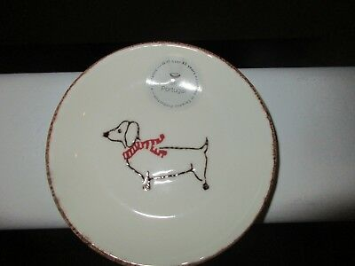 Ceramic Round Portugal Dachshund Dog Holiday Dish Plate with Scarf NEW