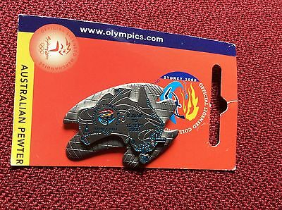 Rare Australian Pewter Olympic Torch Relay Badge / Pin for Sydney 2000 Olympics
