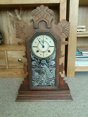 Mantel Wooden Large Tall Case Clock Striking Clock Working With Key Very Shabby