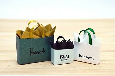 Dolls House Miniature Designer Luxury Shopping Bags Alcohol Wine Clothes Easter