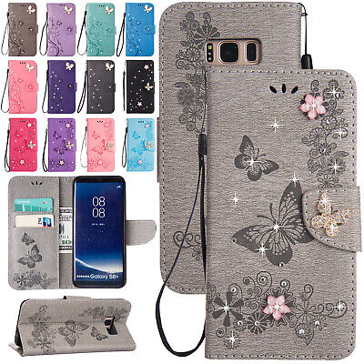 For Samsung Galaxy S9 S8 S7 S6 Bling Leather Magnetic Flip Card Slot Case Cover