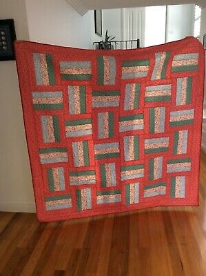 Handmade patchwork Quilt. Apricot Rail Fence (#59)