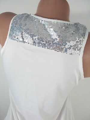 Sequin Tank Top Womens Large White Blouse Camisole Stretch Dressy Bling New