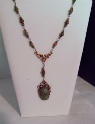 Unakite Necklace - Victorian-Style - Antique Copper Filigrees/beads