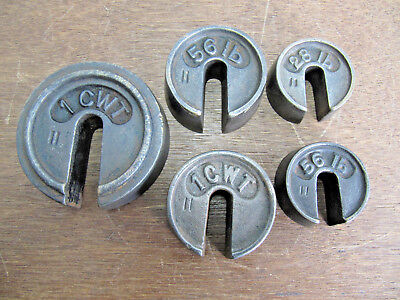 Unusutal Vintage Antique Long Hundredweight  Iron Weights 1CWT,  56lb, 28lb