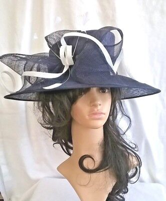 Navy White Hat New Wedding Occasion Races Formal