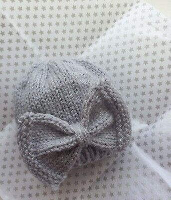 Beautiful Baby Girl Hat With Bow Grey BN Hand Knitted Soft Wool Perfect Gift