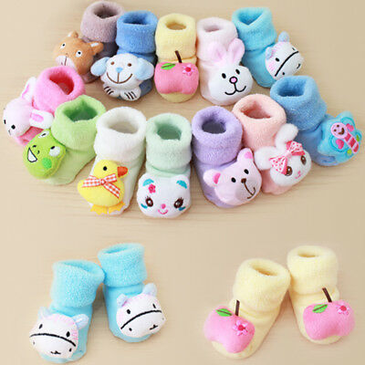 Newborn Kids Baby Girls Boys Anti-Slip Warm Cartoon Socks Slipper Shoes Boots AB