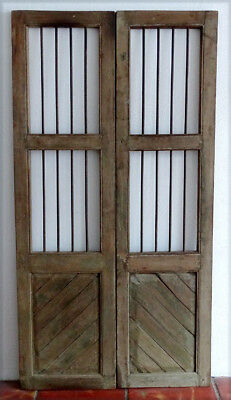 Antique ARCHITECTURAL SALVAGE Wood DOUBLE DOOR Pair with IRON BARS / Wine Cellar