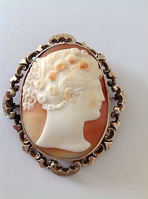 Antique Victorian 9ct Gold Large Carved Shell Cameo Brooch - Circa 1880