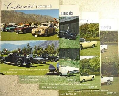 Lot of 4 - CONTINENTAL COMMENTS, 1988 Complete Set, Publication of Lincoln Club