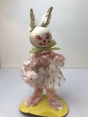 "Vintage Wired Chenille EASTER BUNNY RABBIT Paper Mache Head Cardboard Base 8""H"