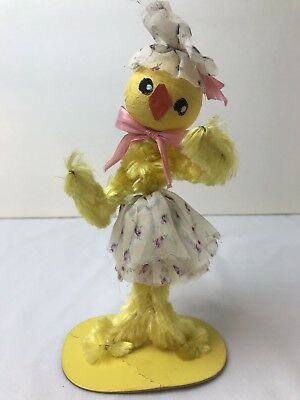 "Vintage Wired Chenille Chick in Dress Paper Mache Head Cardboard Base 8""H"