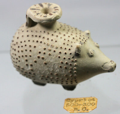 Pottery hedgehog shaped vase with painted spots - possibly Greek or Cypriot