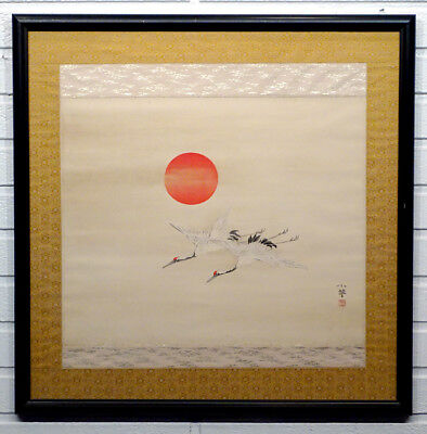 ANTIQUE Vintage Asian Chinese JAPANESE CRANE & SUN Original PAINTING on Silk