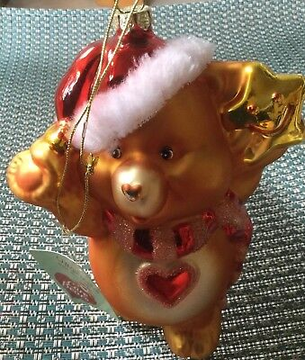 """Care Bear American Greetings Christmas Blown Glass Ornament 2003 Gold 6"""" NWT"""