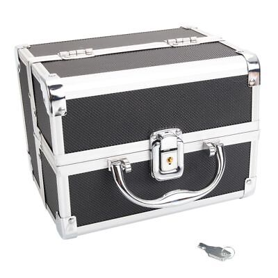 Makeup Train Case Aluminum Jewelry Box Cosmetic Organizer Storage Lock Black