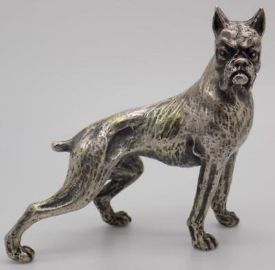 268g/9.46-oz. Vintage Solid Sterling Silver 925 Italian Made Boxer Dog Statue
