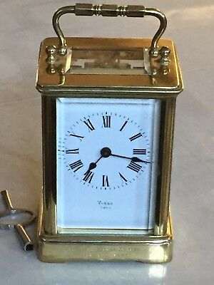 """Antique Of 1889 """"VOKES"""" French 8 Day Mech Move Solid Brass Carriage Clock"""
