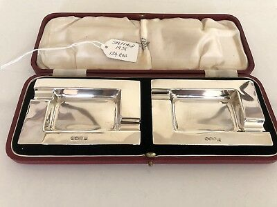Beautiful Cased Pair Of Solid Silver Ash Trays (Sheffield 1938)
