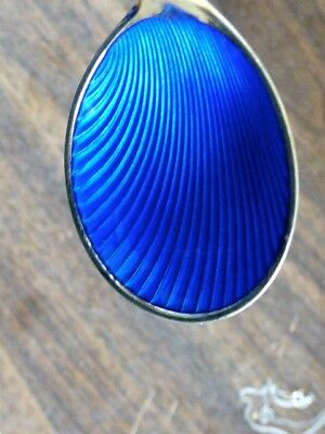 "Vintage Frigast Sterling Blue Enamel Gold Wash Denmark Spoon 4 1/4"" 21 Grams"