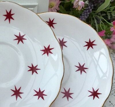 ROYAL VALE 1950s SAUCER x2 SET - RASPBERRY RED STARS - GILDED BONE CHINA
