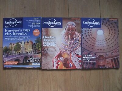 3 Lonely Planet Magazines, 2015, 2016, 52 Best Weekends, Europes Top City Breaks