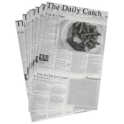 """THE DAILY CATCH Greaseproof Newspaper Design Printed 10X16"""" Sheets Chips Liner"""