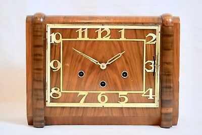 ANTIQUE 1930s ART DECO HALLER FOREIGN DOUBLE CHIMING MANTEL CLOCK
