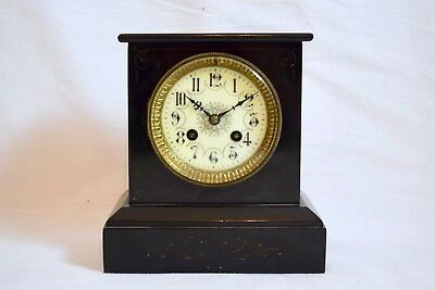 Antique C.1900 Vincenti French Victorian Black Slate Two Train Mantel Clock