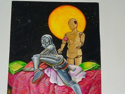 """Rose for Maria"" Original Oil Painting by Anton Brzezinski - Surreal Robot Love!"