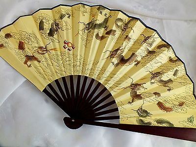 CHINESE L 33cm 9 LUCKY DRAGON YELLOW SILK HAND WALL FAN MEN BIRTHDAY PARTY P4