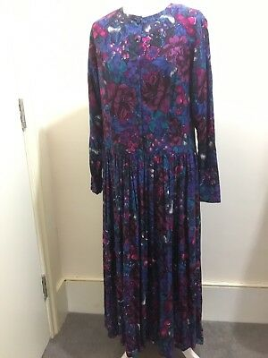 Vintage Monsoon 80s Dress Classic Tea Floral Print Maxi Size 16