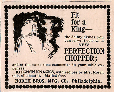 1896 A Ad  Perfection Chopper Cutter  Food North Bros