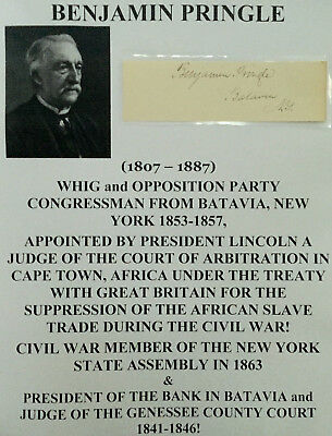 President Lincoln Africa Slave Judge Us Congressman Batavia Ny Autograph Signed!