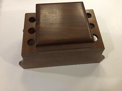 Vintage 6-Pipe Wooden Pipe Holder Stand Tobacco Humidor Storage Box