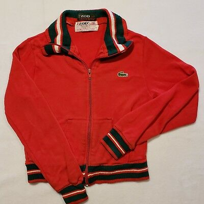 VINTAGE Kids Unisex Izod Lacoste Red and Green Zip-Up Knit Jacket: Size 7
