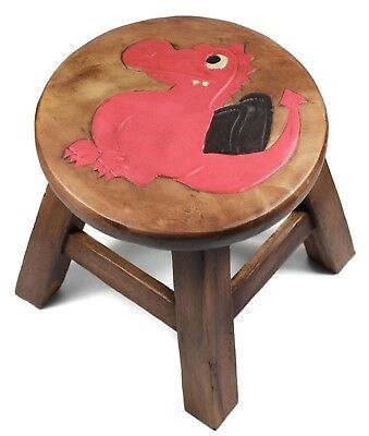 Kids Childrens Childs Wooden Stool Chair. Red Dragon